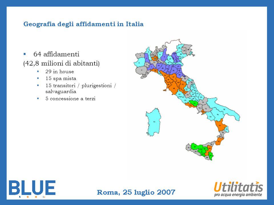 Geografia degli affidamenti in Italia 64 affidamenti (42,8 milioni di abitanti) 29 in house 15 spa mista 15 transitori / plurigestioni / salvaguardia