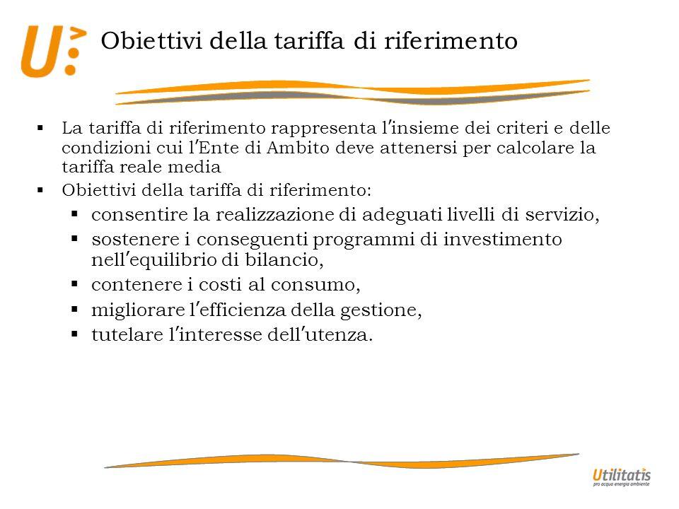 Obiettivi della tariffa di riferimento La tariffa di riferimento rappresenta l insieme dei criteri e delle condizioni cui l Ente di Ambito deve attene