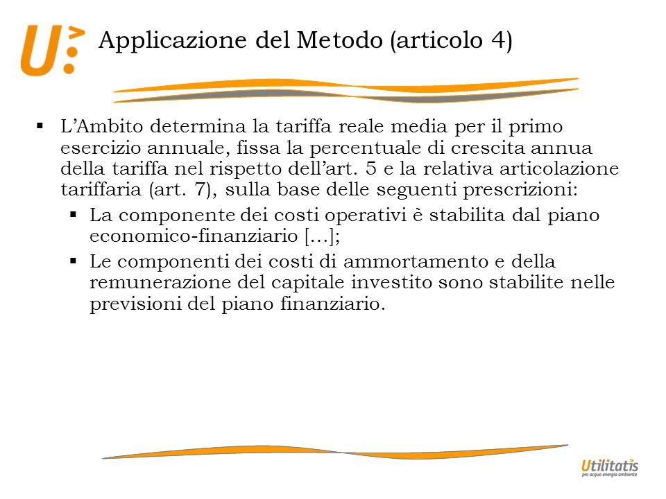 Applicazione del Metodo (articolo 4) LAmbito determina la tariffa reale media per il primo esercizio annuale, fissa la percentuale di crescita annua d