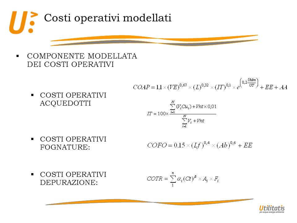 Costi operativi modellati COMPONENTE MODELLATA DEI COSTI OPERATIVI COSTI OPERATIVI ACQUEDOTTI COSTI OPERATIVI FOGNATURE: COSTI OPERATIVI DEPURAZIONE: