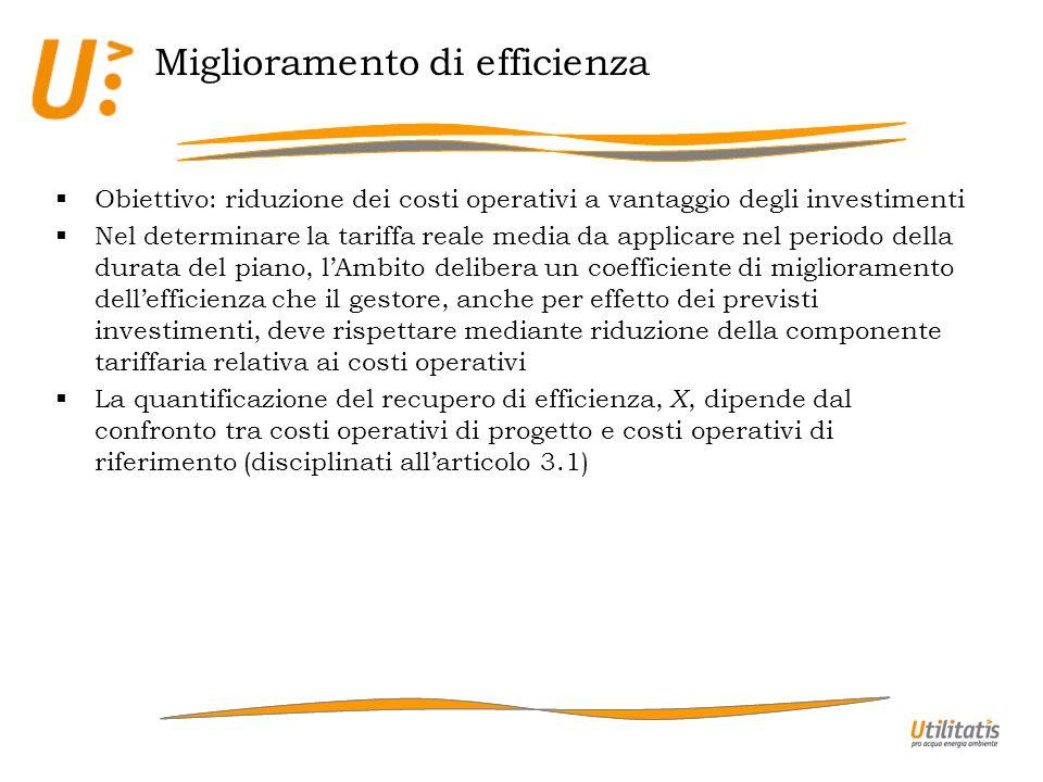 Miglioramento di efficienza Obiettivo: riduzione dei costi operativi a vantaggio degli investimenti Nel determinare la tariffa reale media da applicar
