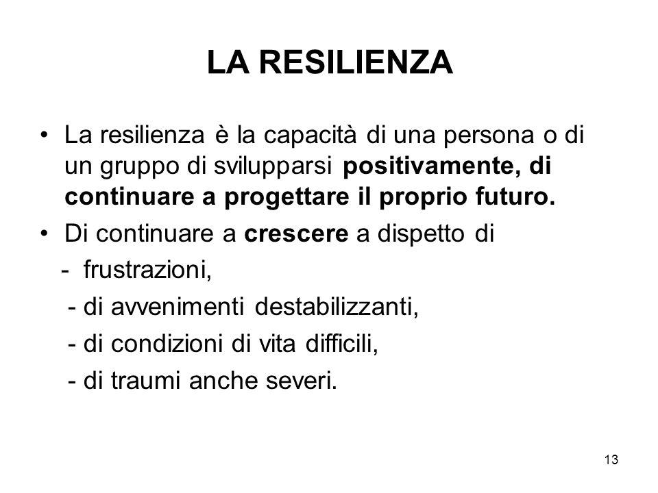 13 LA RESILIENZA La resilienza è la capacità di una persona o di un gruppo di svilupparsi positivamente, di continuare a progettare il proprio futuro.