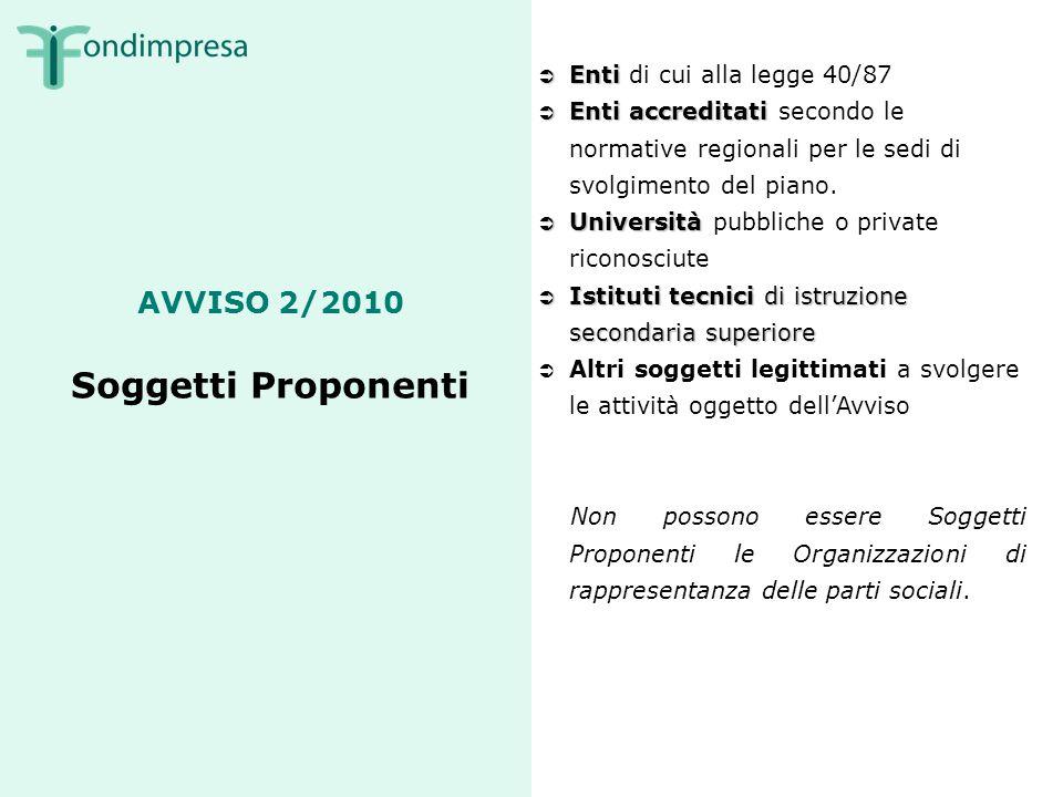 AVVISO 2/2010 Soggetti Proponenti Enti Enti di cui alla legge 40/87 Enti accreditati Enti accreditati secondo le normative regionali per le sedi di svolgimento del piano.