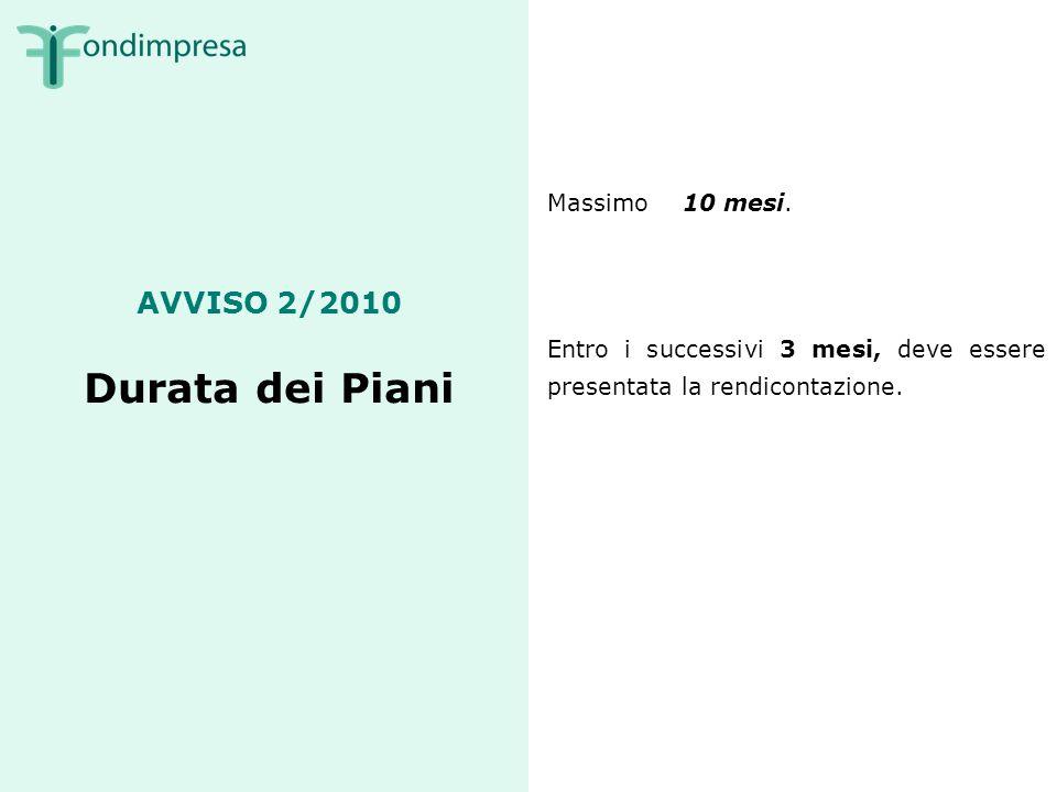 AVVISO 2/2010 Durata dei Piani Massimo 10 mesi.