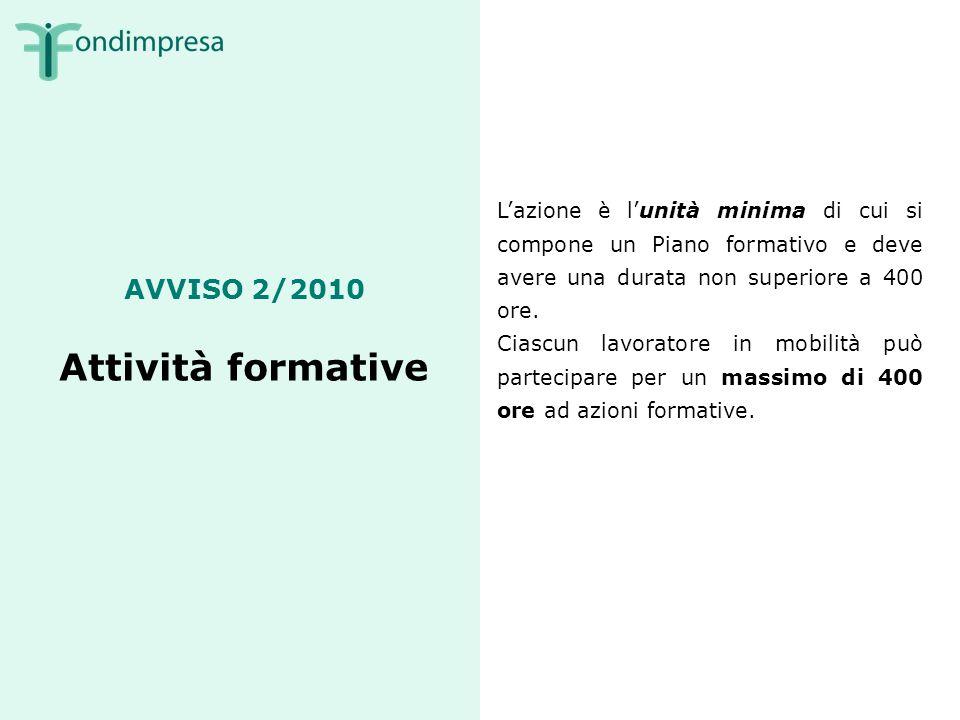AVVISO 2/2010 Attività formative Lazione è lunità minima di cui si compone un Piano formativo e deve avere una durata non superiore a 400 ore.