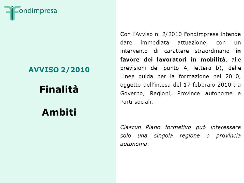 AVVISO 2/2010 Finalità Ambiti Con lAvviso n.