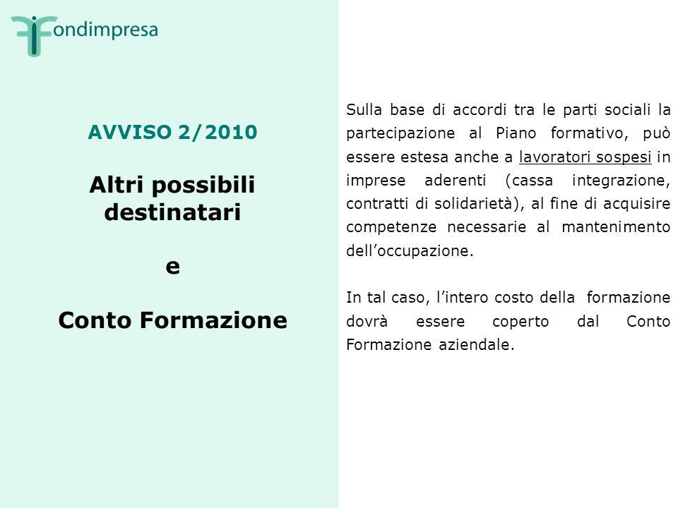 Avviso 2/2010 Risorse finanziarie 50 milioni di euro 35 milioni assegnati, secondo lordine cronologico di presentazione ai Piani formativi risultati idonei alla verifica di ammissibilità e conformità.