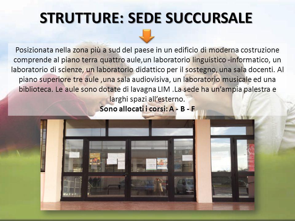 STRUTTURE: SEDE SUCCURSALE Posizionata nella zona più a sud del paese in un edificio di moderna costruzione comprende al piano terra quattro aule,un l