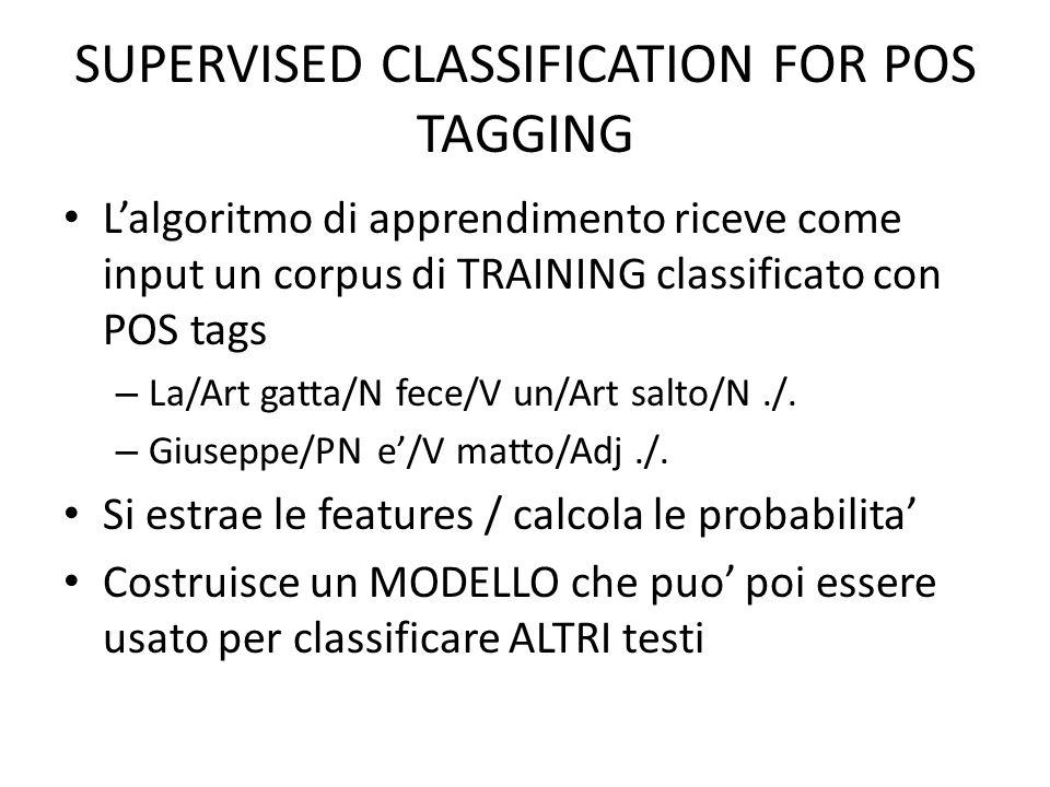SUPERVISED CLASSIFICATION FOR POS TAGGING Lalgoritmo di apprendimento riceve come input un corpus di TRAINING classificato con POS tags – La/Art gatta