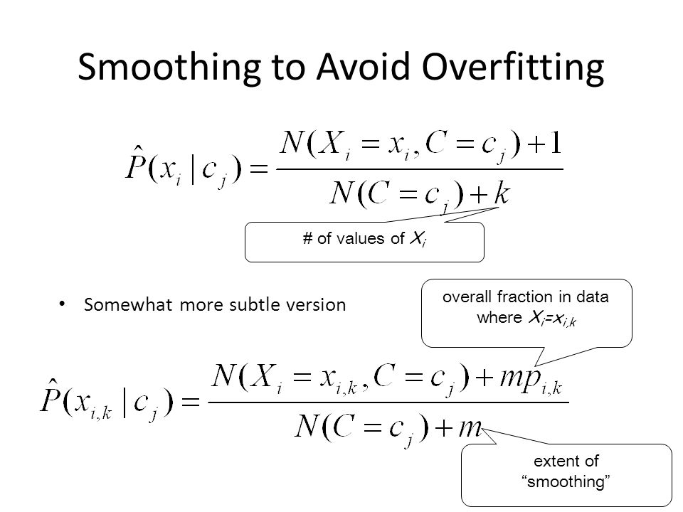 Smoothing to Avoid Overfitting Somewhat more subtle version # of values of X i overall fraction in data where X i =x i,k extent of smoothing