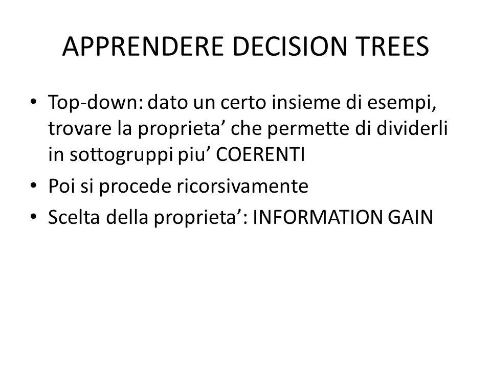 APPRENDERE DECISION TREES Top-down: dato un certo insieme di esempi, trovare la proprieta che permette di dividerli in sottogruppi piu COERENTI Poi si procede ricorsivamente Scelta della proprieta: INFORMATION GAIN