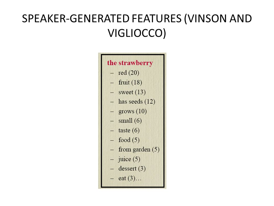 SPEAKER-GENERATED FEATURES (VINSON AND VIGLIOCCO)