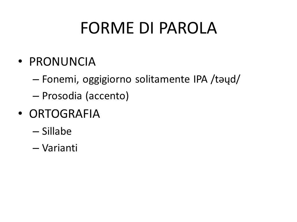 FORME DI PAROLA PRONUNCIA – Fonemi, oggigiorno solitamente IPA /təųd/ – Prosodia (accento) ORTOGRAFIA – Sillabe – Varianti