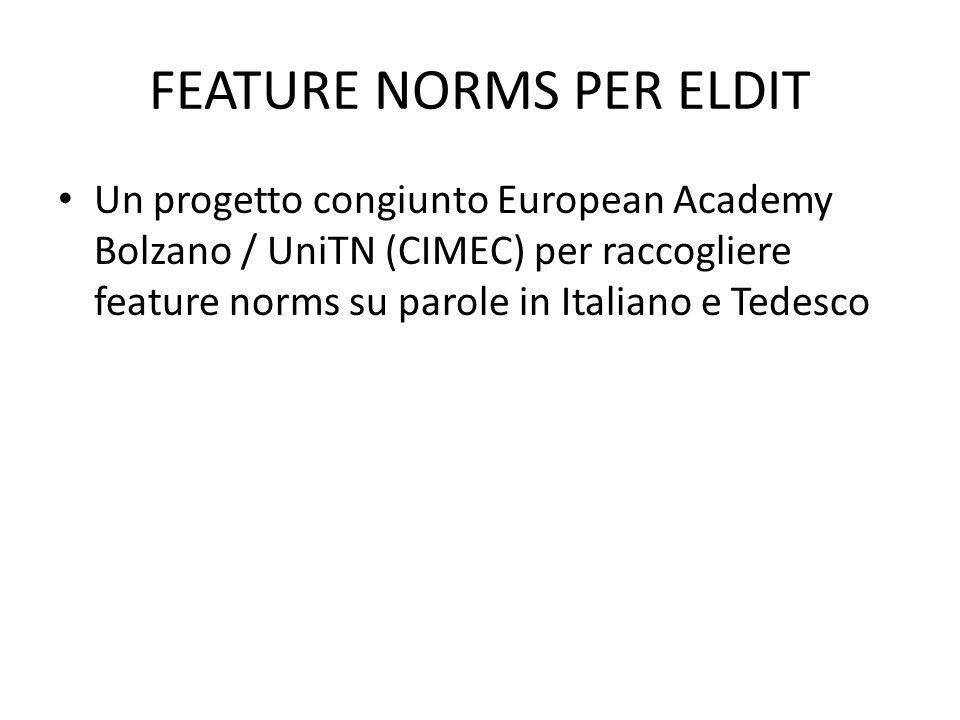 FEATURE NORMS PER ELDIT Un progetto congiunto European Academy Bolzano / UniTN (CIMEC) per raccogliere feature norms su parole in Italiano e Tedesco