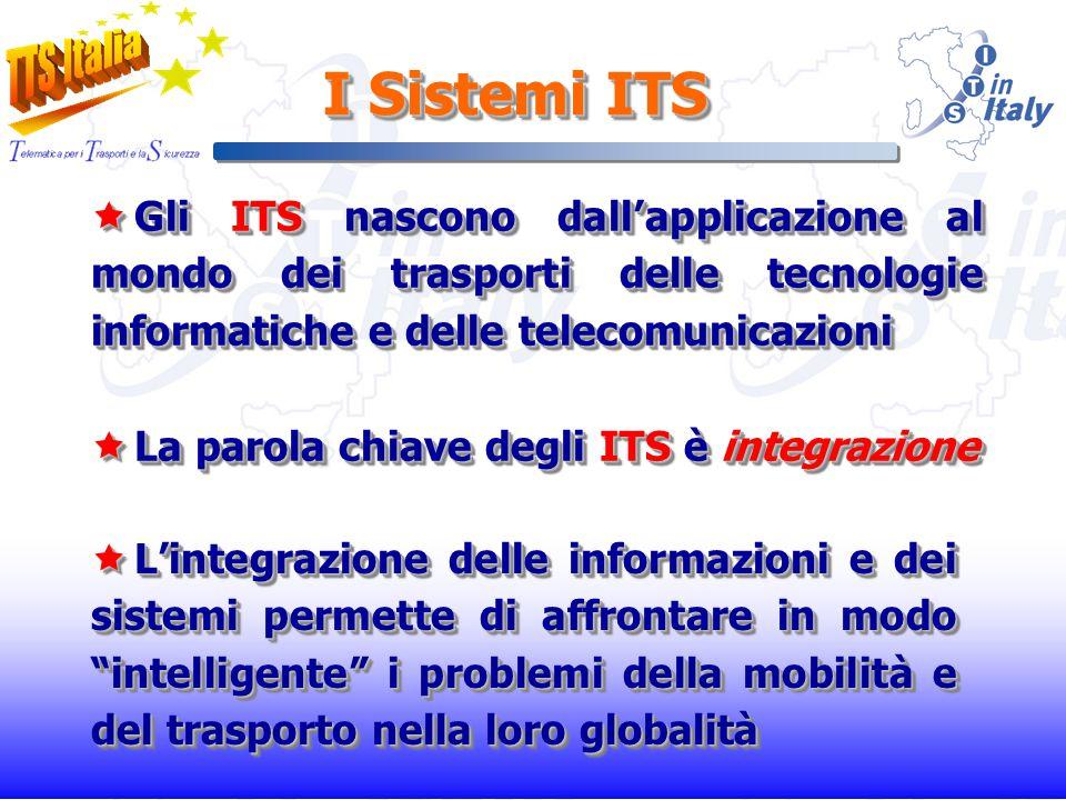 I Sistemi ITS Lintegrazione delle informazioni e dei sistemi permette di affrontare in modo intelligente i problemi della mobilità e del trasporto nella loro globalità Lintegrazione delle informazioni e dei sistemi permette di affrontare in modo intelligente i problemi della mobilità e del trasporto nella loro globalità Gli ITS nascono dallapplicazione al mondo dei trasporti delle tecnologie informatiche e delle telecomunicazioni Gli ITS nascono dallapplicazione al mondo dei trasporti delle tecnologie informatiche e delle telecomunicazioni La parola chiave degli ITS è integrazione La parola chiave degli ITS è integrazione