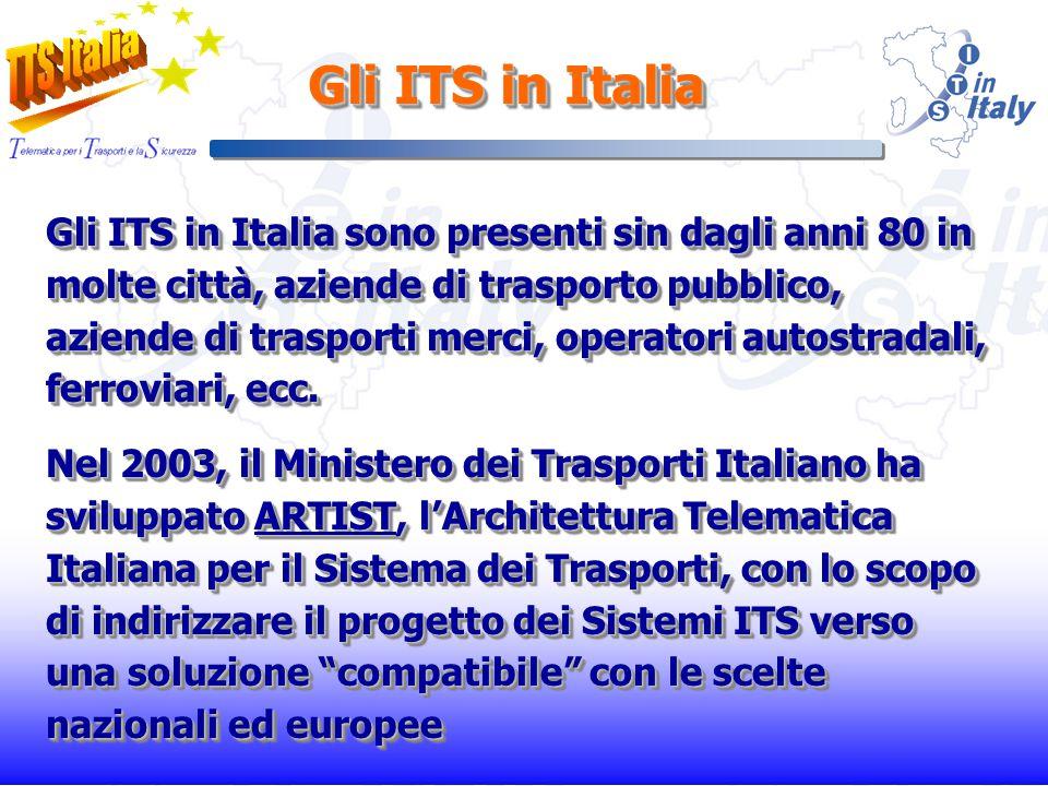 Gli ITS in Italia sono presenti sin dagli anni 80 in molte città, aziende di trasporto pubblico, aziende di trasporti merci, operatori autostradali, ferroviari, ecc.