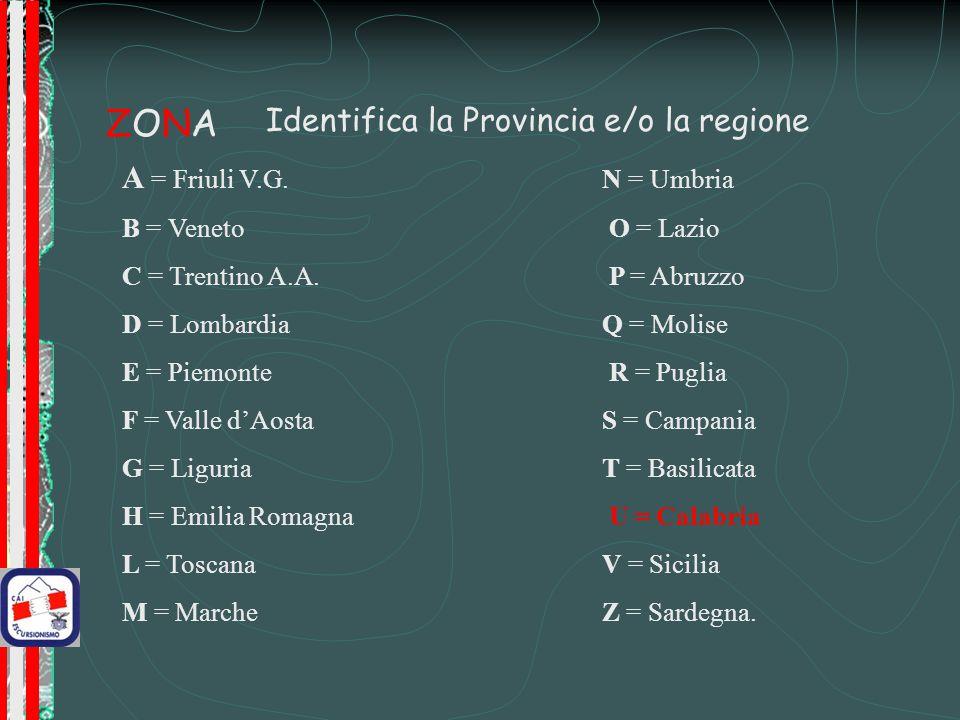 ZONAZONA Identifica la Provincia e/o la regione A = Friuli V.G.
