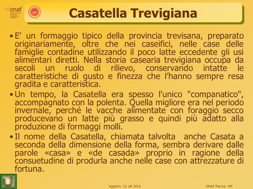 Aggiorn: 12 ott 2010ONAF Parma: MP Casatella Trevigiana E un formaggio tipico della provincia trevisana, preparato originariamente, oltre che nei caseifici, nelle case delle famiglie contadine utilizzando il poco latte eccedente gli usi alimentari diretti.