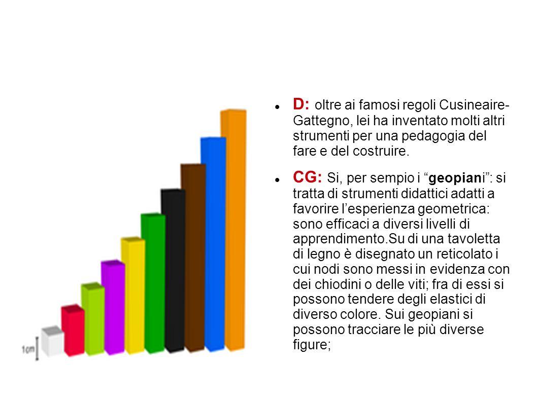 D: oltre ai famosi regoli Cusineaire- Gattegno, lei ha inventato molti altri strumenti per una pedagogia del fare e del costruire. CG: Si, per sempio