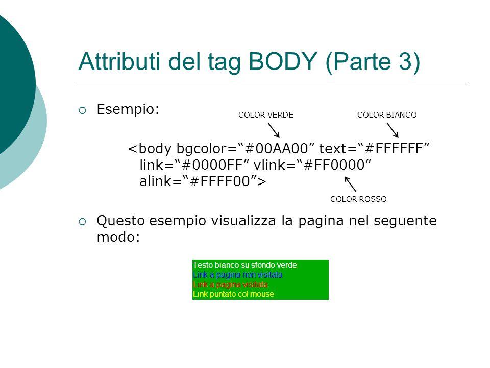 Attributi del tag BODY (Parte 3) Esempio: Questo esempio visualizza la pagina nel seguente modo: COLOR BIANCO COLOR ROSSO COLOR VERDE