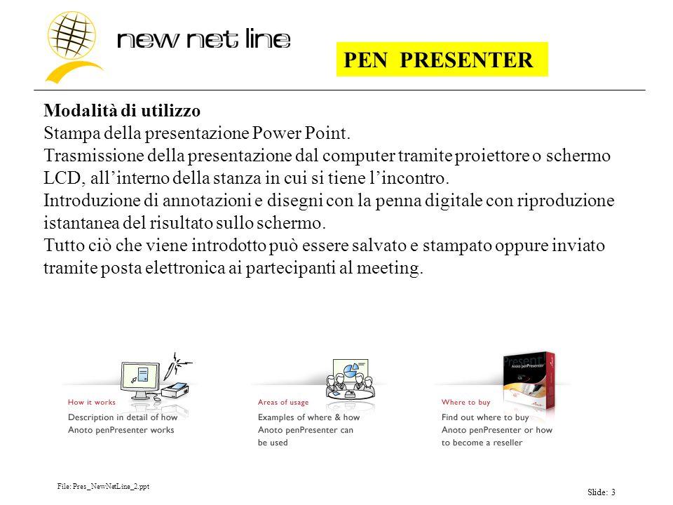 File: Pres_NewNetLine_2.ppt Slide: 3 PEN PRESENTER Modalità di utilizzo Stampa della presentazione Power Point.