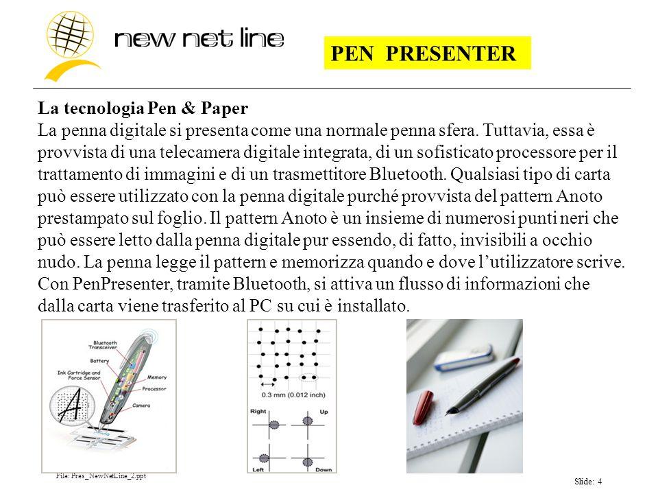 File: Pres_NewNetLine_2.ppt Slide: 4 PEN PRESENTER La tecnologia Pen & Paper La penna digitale si presenta come una normale penna sfera.