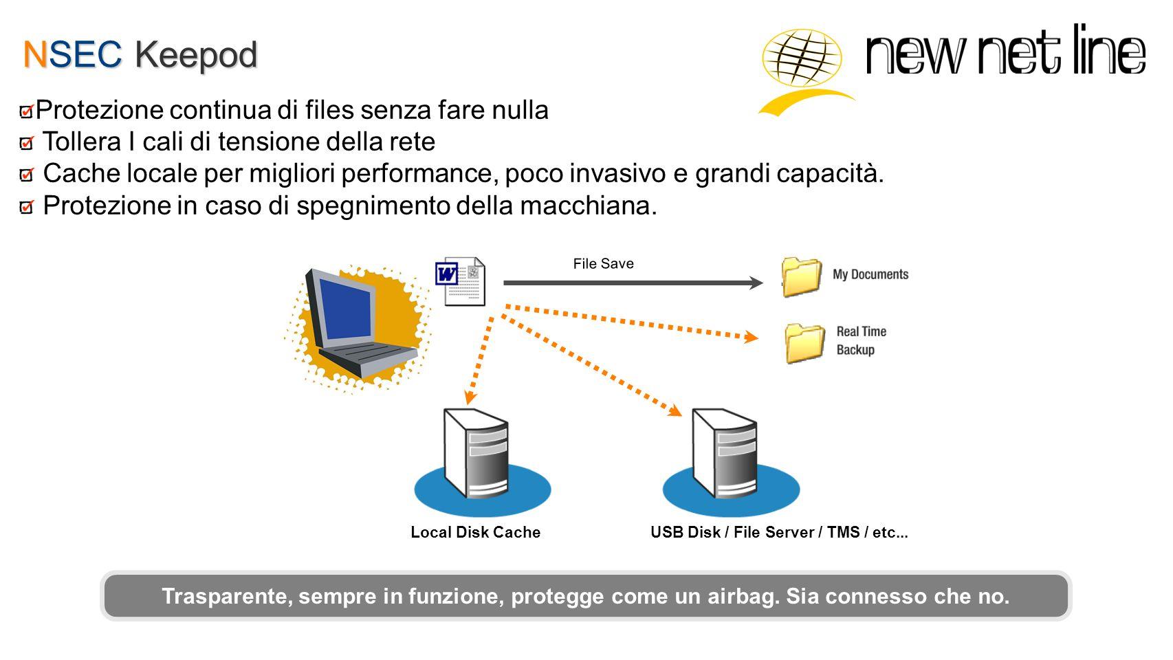 NSEC Keepod File Save Local Disk CacheUSB Disk / File Server / TMS / etc... Trasparente, sempre in funzione, protegge come un airbag. Sia connesso che