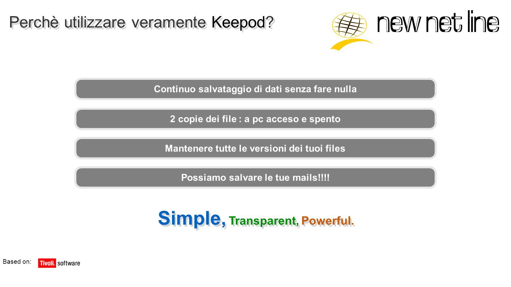 Perchè utilizzare veramente Keepod? Simple, Transparent, Powerful. Based on: Continuo salvataggio di dati senza fare nulla 2 copie dei file : a pc acc