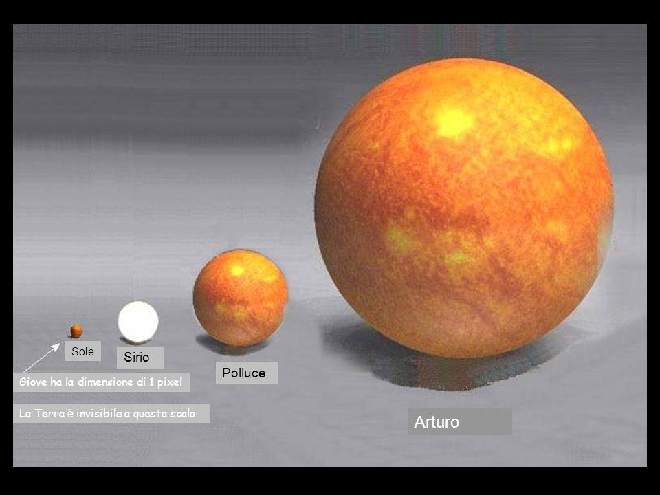 Sole Sirio Arturo Giove ha la dimensione di 1 pixel Polluce La Terra è invisibile a questa scala