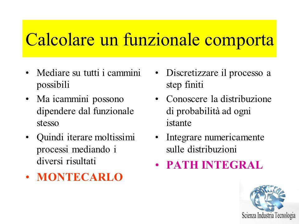 Calcolare un funzionale comporta Mediare su tutti i cammini possibili Ma icammini possono dipendere dal funzionale stesso Quindi iterare moltissimi pr