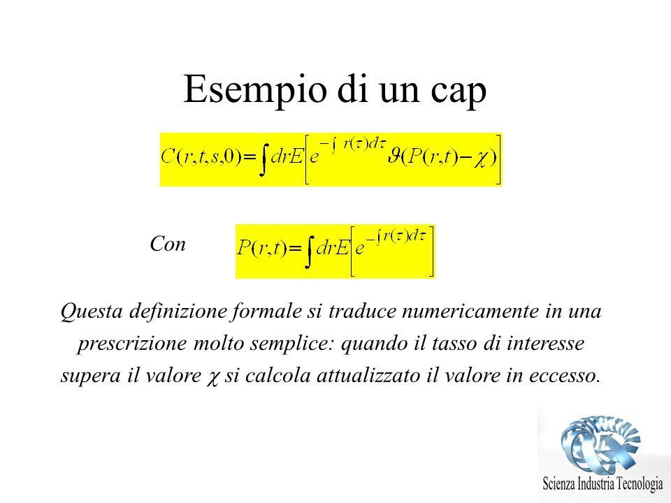 Esempio di un cap Con Questa definizione formale si traduce numericamente in una prescrizione molto semplice: quando il tasso di interesse supera il v