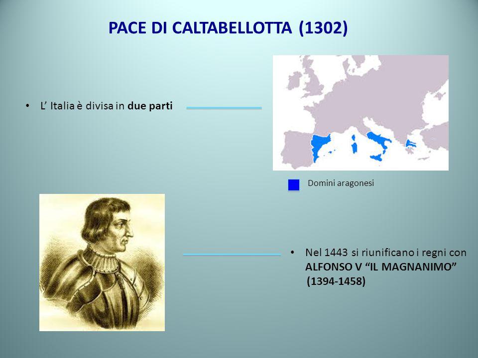 PACE DI CALTABELLOTTA (1302) L Italia è divisa in due parti Nel 1443 si riunificano i regni con ALFONSO V IL MAGNANIMO (1394-1458) Domini aragonesi