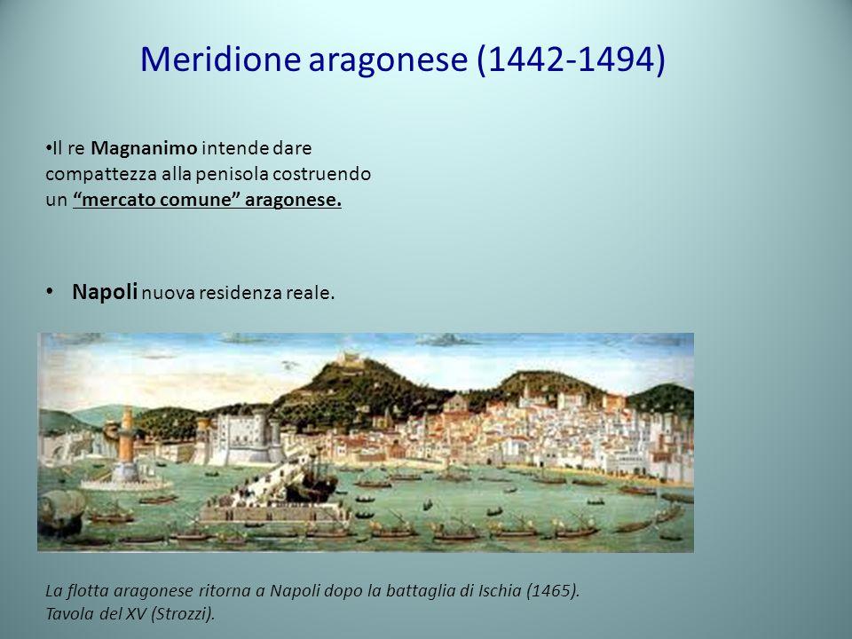 Meridione aragonese (1442-1494) Il re Magnanimo intende dare compattezza alla penisola costruendo un mercato comune aragonese. Napoli nuova residenza