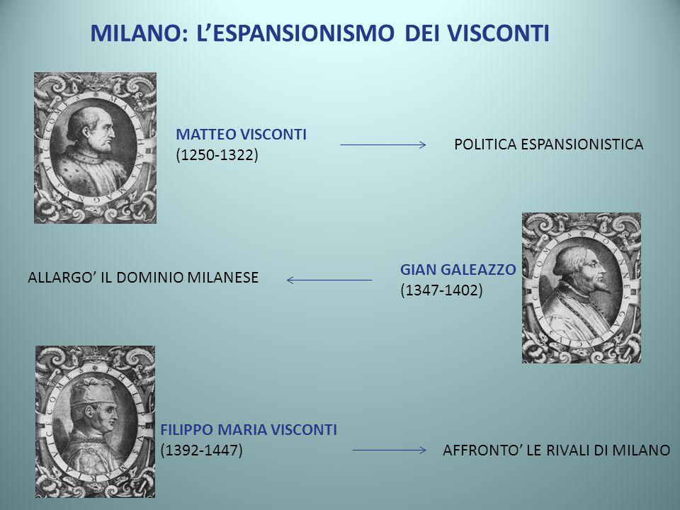 MILANO: LESPANSIONISMO DEI VISCONTI MATTEO VISCONTI (1250-1322) POLITICA ESPANSIONISTICA GIAN GALEAZZO (1347-1402) ALLARGO IL DOMINIO MILANESE FILIPPO