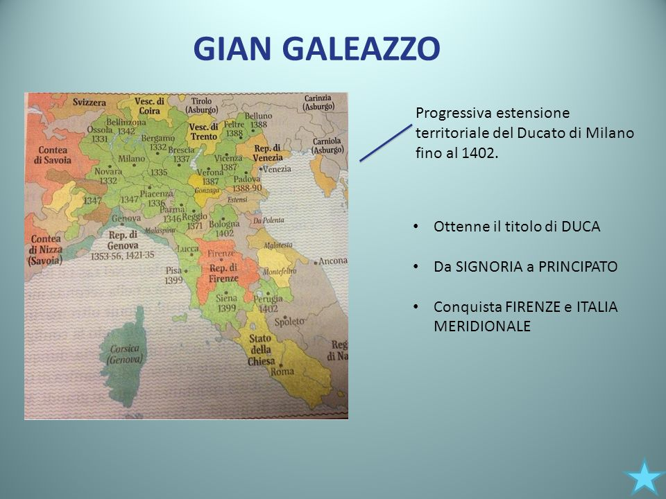 GIAN GALEAZZO Progressiva estensione territoriale del Ducato di Milano fino al 1402. Ottenne il titolo di DUCA Da SIGNORIA a PRINCIPATO Conquista FIRE