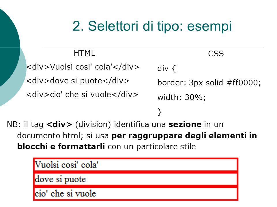 HTML Vuolsi cosi' cola' dove si puote cio' che si vuole CSS div { border: 3px solid #ff0000; width: 30%; } 2. Selettori di tipo: esempi NB: il tag (di