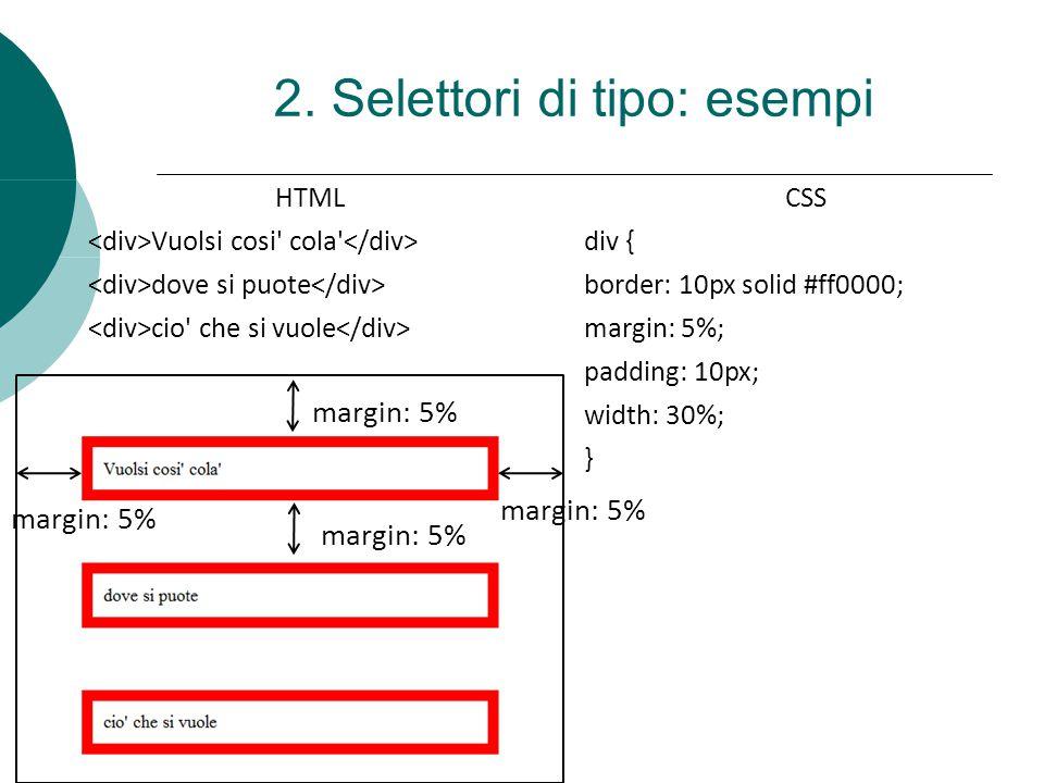 HTML Vuolsi cosi' cola' dove si puote cio' che si vuole CSS div { border: 10px solid #ff0000; margin: 5%; padding: 10px; width: 30%; } 2. Selettori di