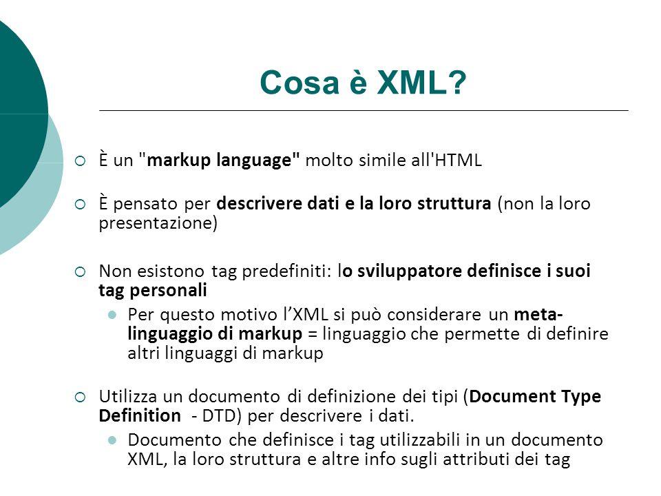 Cosa è XML? È un