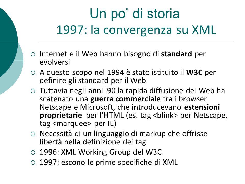 Un po di storia 1997: la convergenza su XML Internet e il Web hanno bisogno di standard per evolversi A questo scopo nel 1994 è stato istituito il W3C per definire gli standard per il Web Tuttavia negli anni 90 la rapida diffusione del Web ha scatenato una guerra commerciale tra i browser Netscape e Microsoft, che introducevano estensioni proprietarie per lHTML (es.