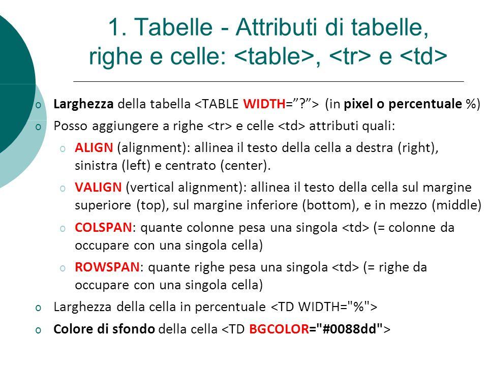 1. Tabelle - Attributi di tabelle, righe e celle:, e o Larghezza della tabella (in pixel o percentuale %) o Posso aggiungere a righe e celle attributi
