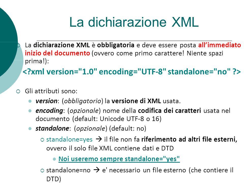 La dichiarazione XML La dichiarazione XML è obbligatoria e deve essere posta allimmediato inizio del documento (ovvero come primo carattere! Niente sp