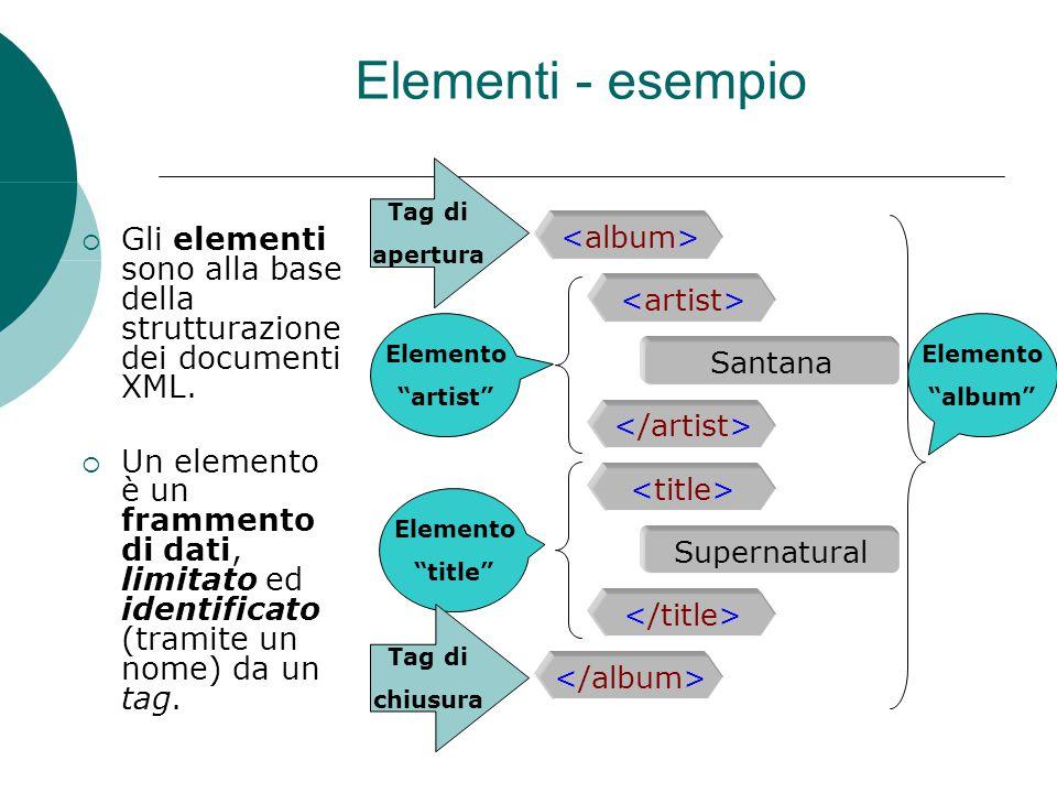 Elementi - esempio Gli elementi sono alla base della strutturazione dei documenti XML. Un elemento è un frammento di dati, limitato ed identificato (t