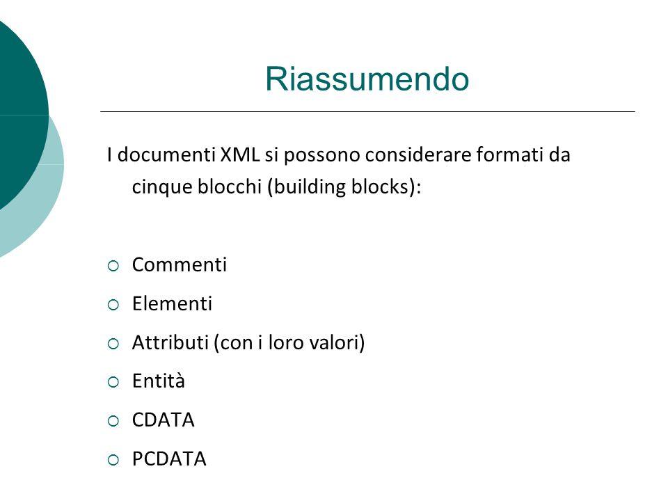Riassumendo I documenti XML si possono considerare formati da cinque blocchi (building blocks): Commenti Elementi Attributi (con i loro valori) Entità