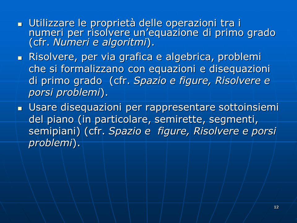 12 Utilizzare le proprietà delle operazioni tra i numeri per risolvere unequazione di primo grado (cfr.