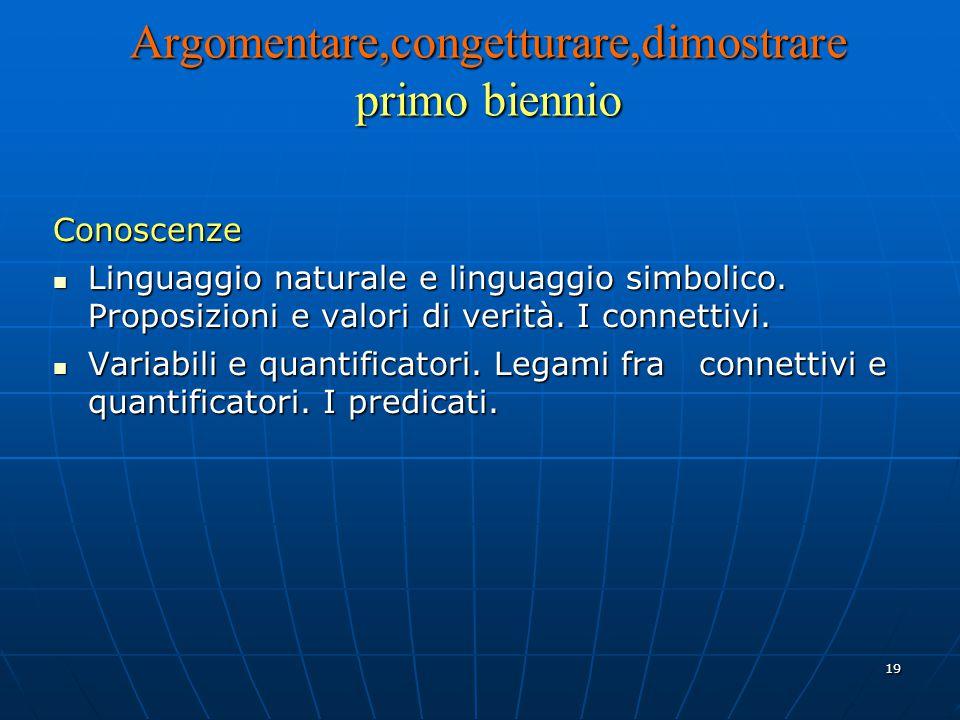 19 Argomentare,congetturare,dimostrare primo biennio Conoscenze Linguaggio naturale e linguaggio simbolico.