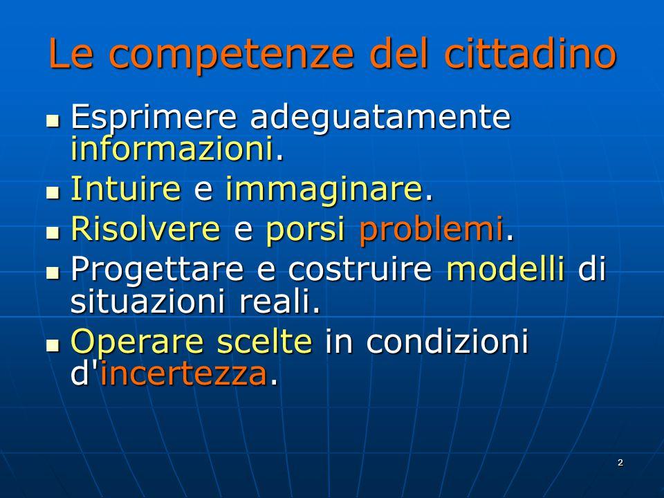 2 Le competenze del cittadino Esprimere adeguatamente informazioni.