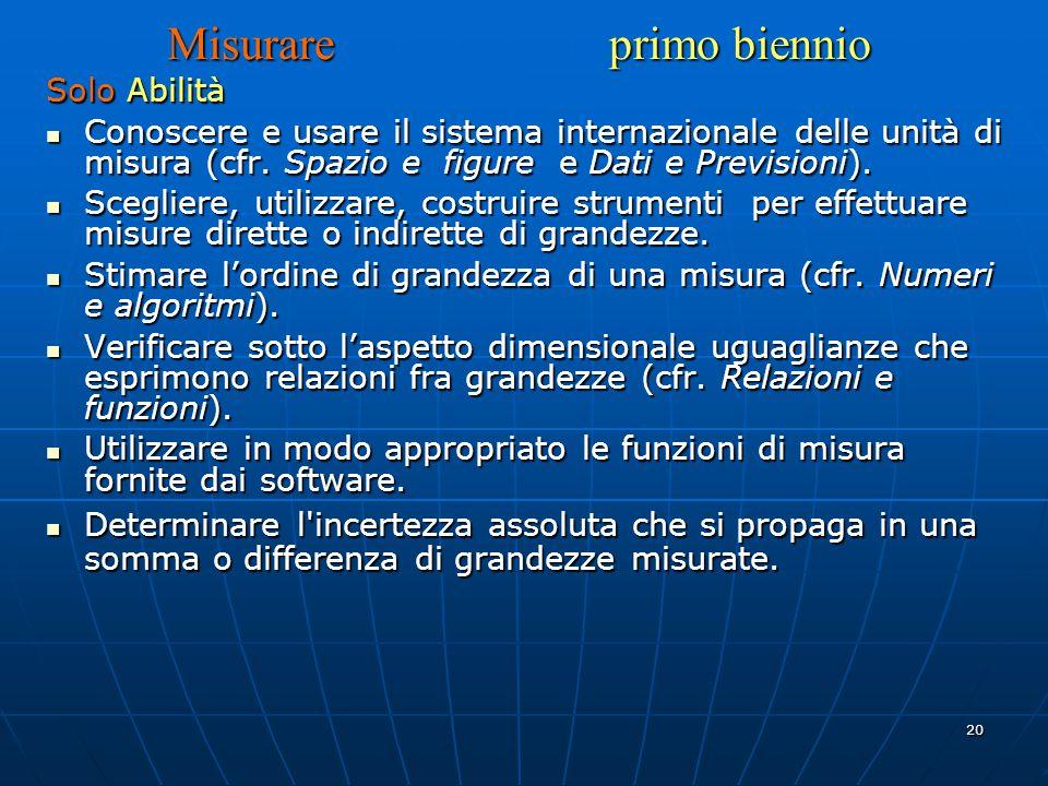 20 Misurare primo biennio Solo Abilità Conoscere e usare il sistema internazionale delle unità di misura (cfr.