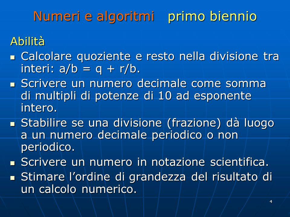 4 Numeri e algoritmi primo biennio Abilità Calcolare quoziente e resto nella divisione tra interi: a/b = q + r/b.