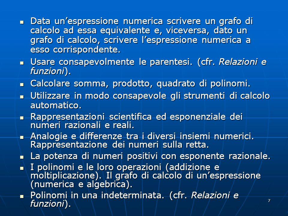 7 Data unespressione numerica scrivere un grafo di calcolo ad essa equivalente e, viceversa, dato un grafo di calcolo, scrivere lespressione numerica a esso corrispondente.