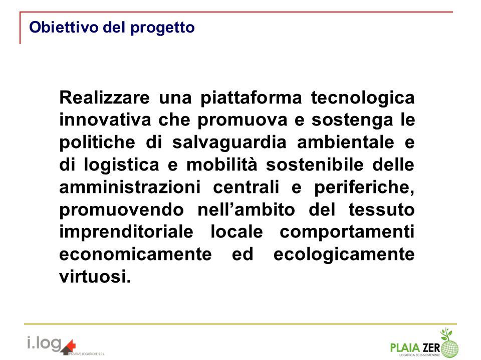 Realizzare una piattaforma tecnologica innovativa che promuova e sostenga le politiche di salvaguardia ambientale e di logistica e mobilità sostenibil